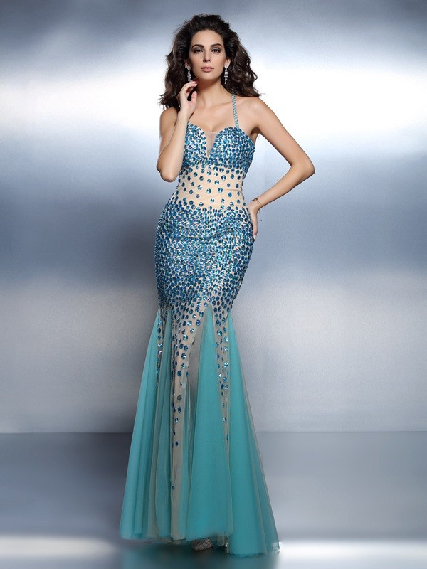 Spaghetti Straps Floor-Length Blue Prom Dresses with Rhinestone