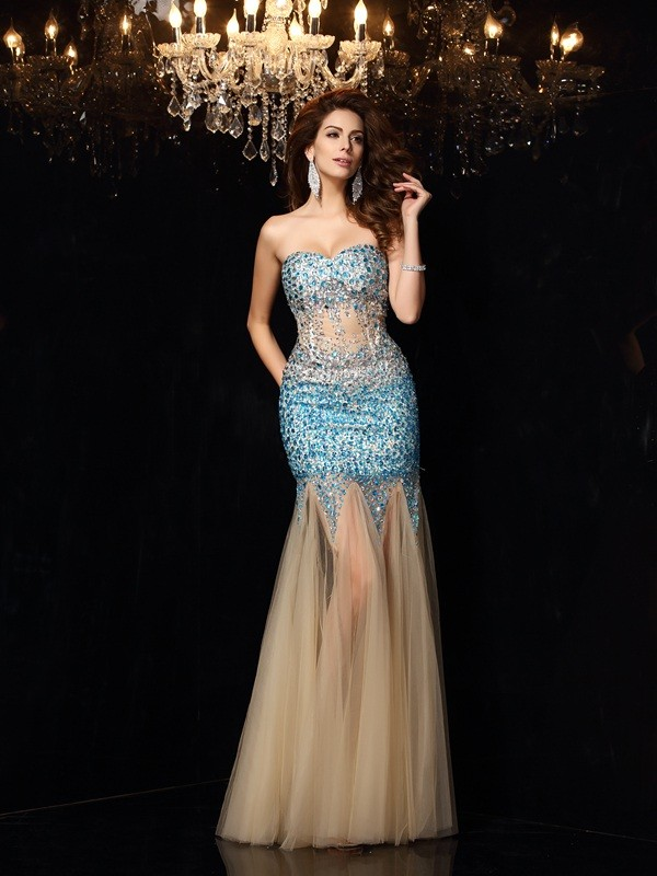 Net Sheath Floor-Length Sweetheart Champagne Prom Dresses