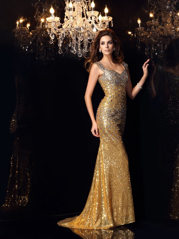 Straps Floor-Length Gold Prom Dresses with Rhinestone