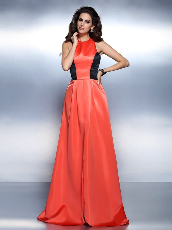 Satin A-Line Floor-Length High Neck Orange Prom Dresses