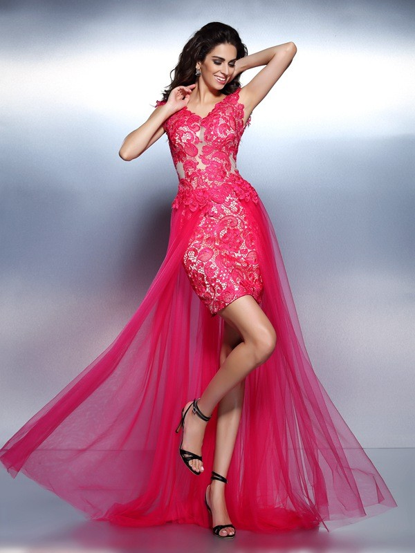 A-Line V-neck Floor-Length Fuchsia Prom Dresses with Lace