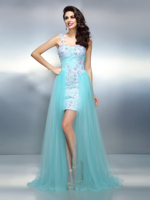 One-Shoulder Brush Train Blue Prom Dresses with Applique