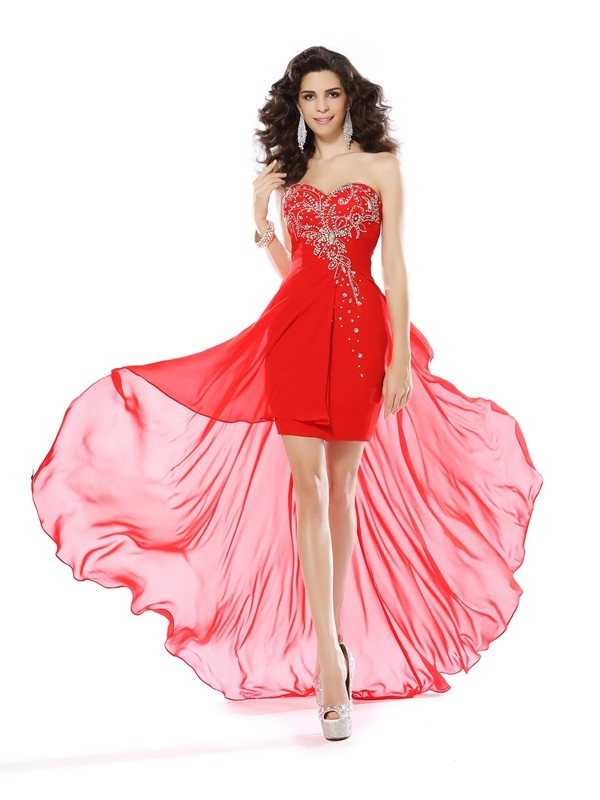 Chiffon Sweetheart Short/Mini Red Homecoming Dresses