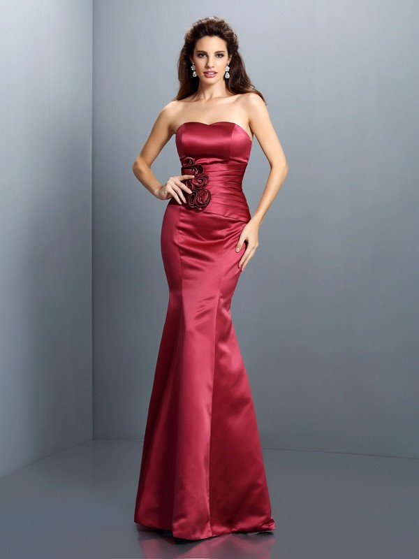 Burgundy Strapless Satin Floor-Length Prom Dresses
