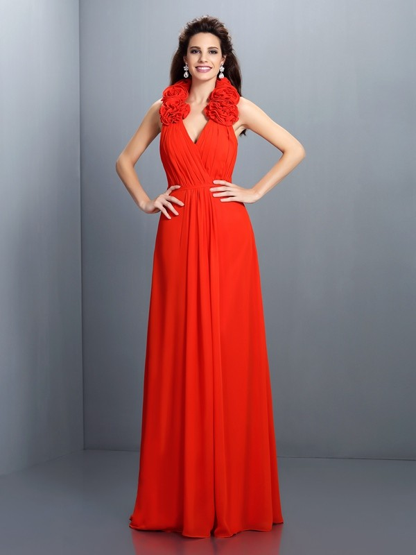 Halter Floor-Length Red Prom Dresses with Hand-Made Flower