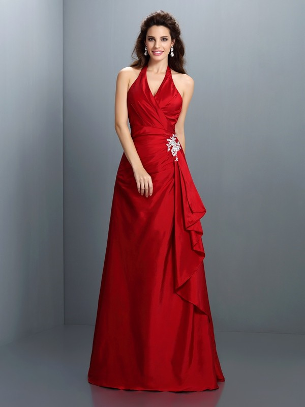 A-Line Halter Floor-Length Red Prom Dresses with Beading