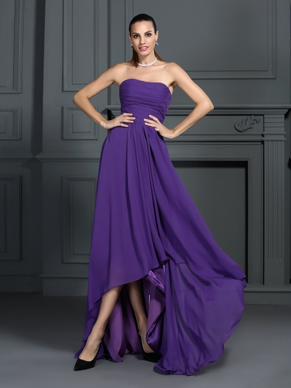 Regency Strapless Asymmetrical Homecoming Dresses with Pleats
