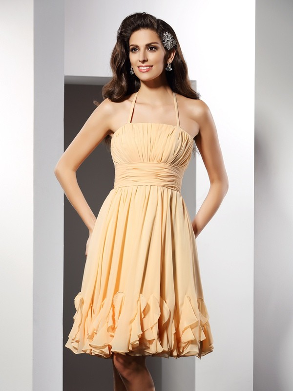A-Line Chiffon Halter Knee-Length Champagne Homecoming Dresses