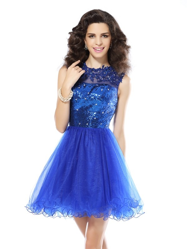 Short/Mini Royal Blue Scoop Homecoming Dresses with Paillette