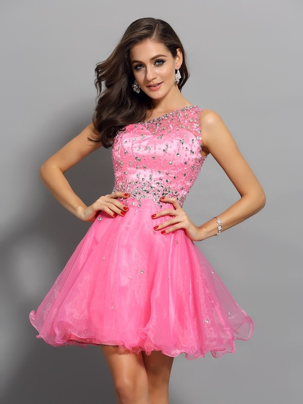One-Shoulder Short/Mini Pink Homecoming Dresses with Ruffles