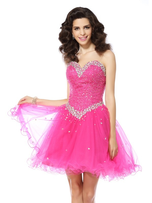 Satin A-Line Short/Mini Sweetheart Pink Homecoming Dresses