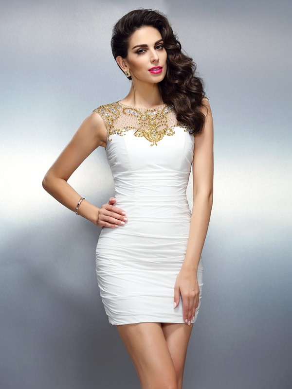 Chiffon Sheath Short/Mini Bateau White Homecoming Dresses