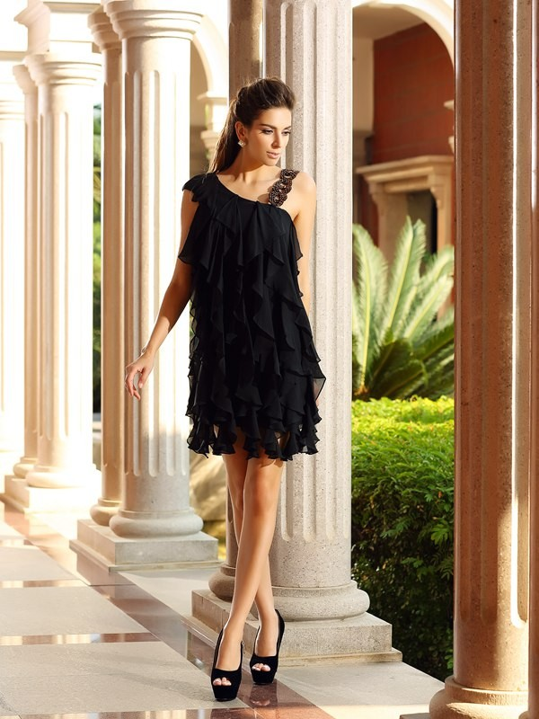 A-Line Chiffon Other Short/Mini Black Homecoming Dresses