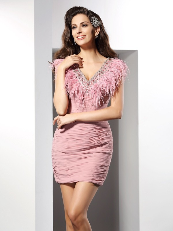 Sheath Chiffon V-neck Short/Mini Homecoming Dresses