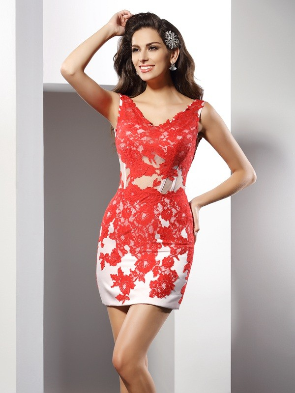 Satin V-neck Short/Mini Red Homecoming Dresses