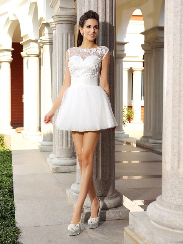 A-Line Scoop Short/Mini White Homecoming Dresses