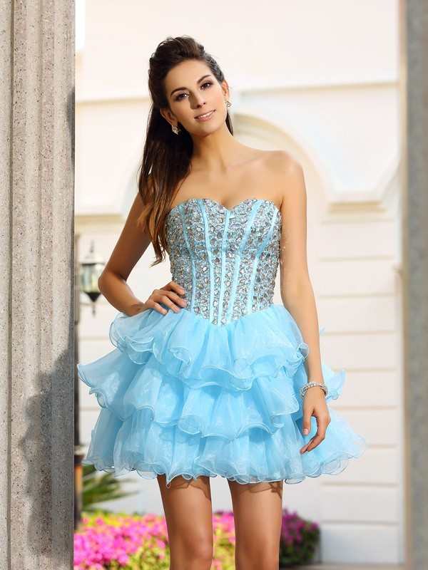 Short/Mini Blue Sweetheart Homecoming Dresses with Beading