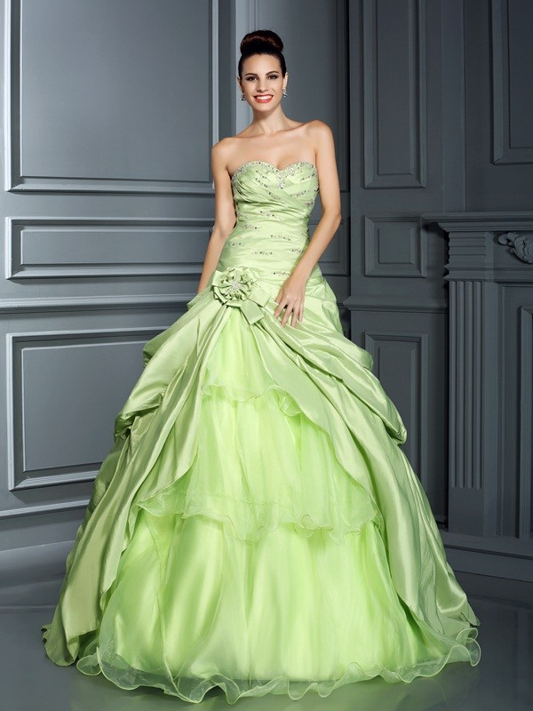 Taffeta Sweetheart Floor-Length Sage Prom Dresses