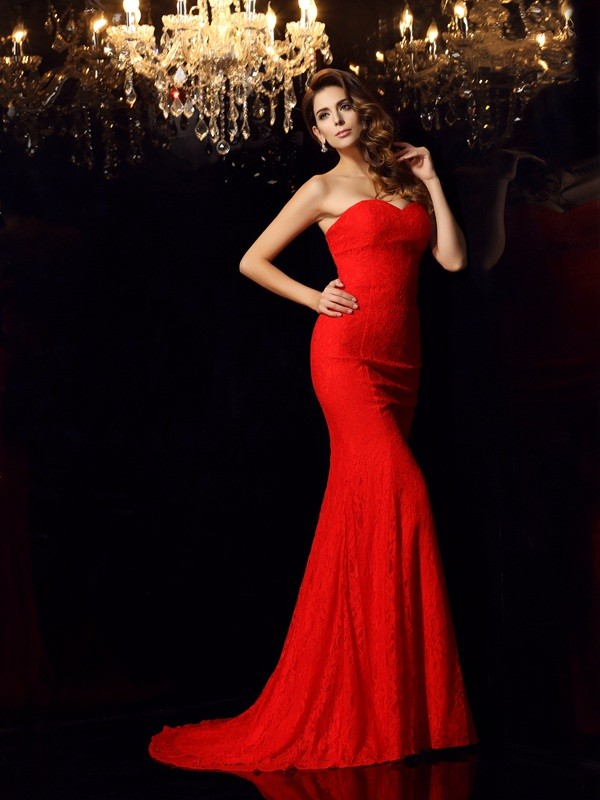 Mermaid Sweetheart Court Train Red Prom Dresses with Lace