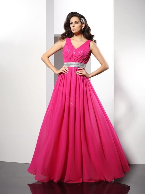 Fuchsia A-Line V-neck Floor-Length Prom Dresses with Paillette