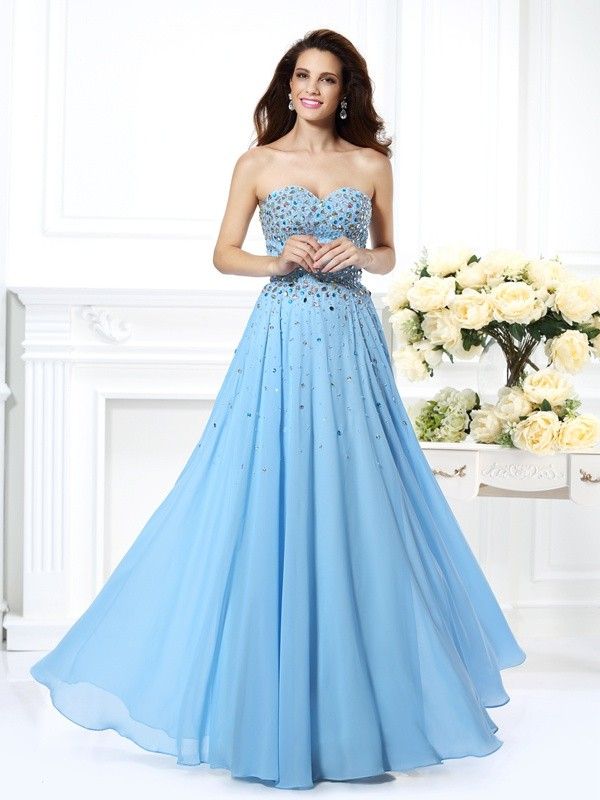 Light Sky Blue Sweetheart Floor-Length Prom Dresses with Beading