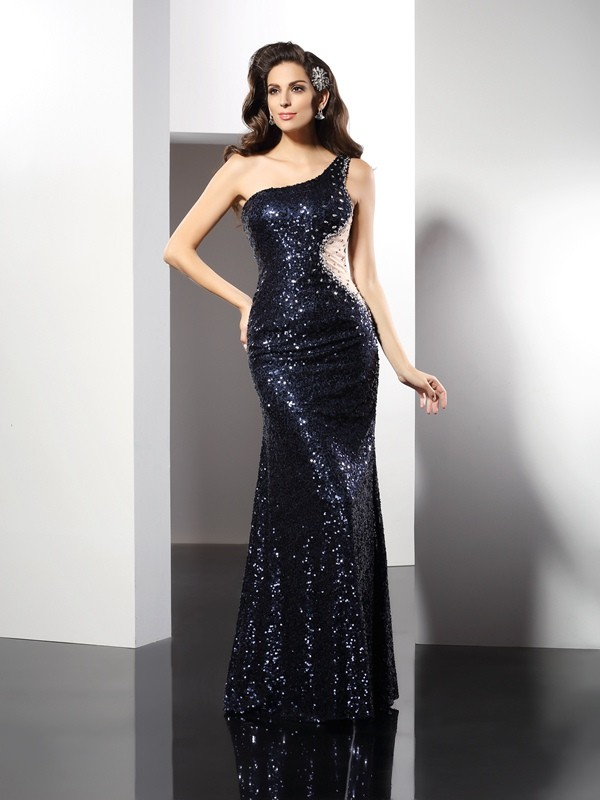 Sheath Sequins One-Shoulder Floor-Length Prom Dresses with Sequin