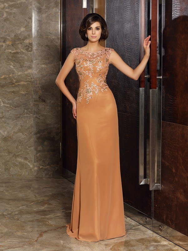 Scoop Brush Train Orange Mother of the Bride Dresses with Beading