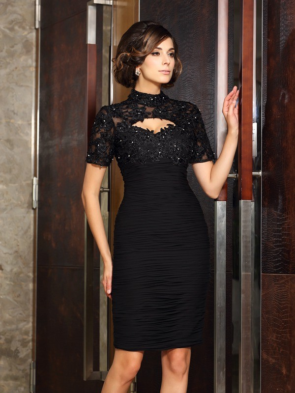 High Neck Knee-Length Black Mother of the Bride Dresses with Beading