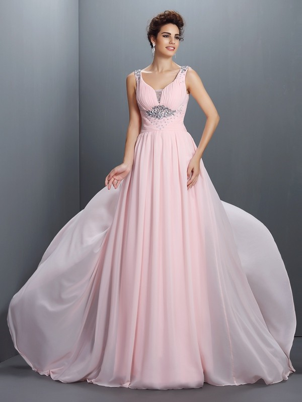 A-Line Straps Brush Train Pearl Pink Prom Dresses with Beading