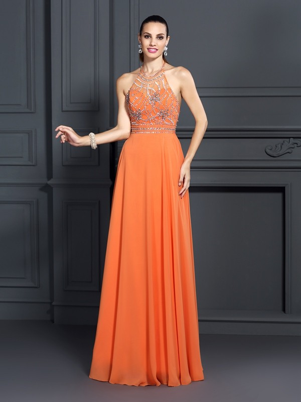 Orange A-Line Scoop Floor-Length Prom Dresses with Beading