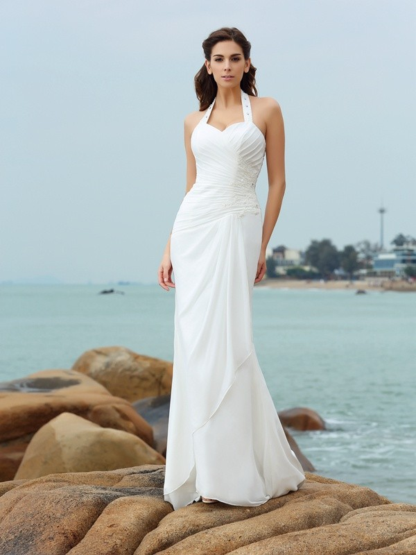 Chiffon Sheath Court Train Halter White Wedding Dresses