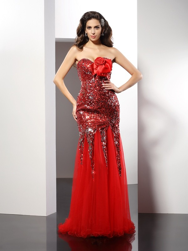 Sweetheart Floor-Length Red Prom Dresses with Sequin