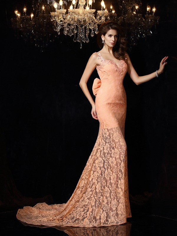 Straps Court Train Orange Prom Dresses with Lace