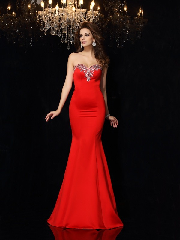 Sheath Sweetheart Court Train Red Prom Dresses