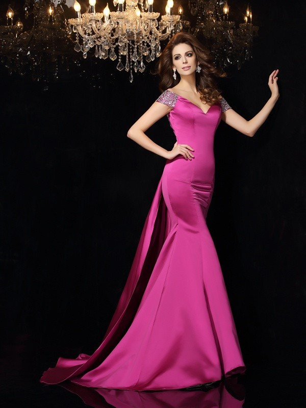 Court Train Fuchsia Off-the-Shoulder Prom Dresses with Beading