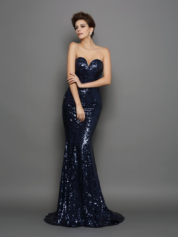 Sequins Sweetheart Brush Train Dark Navy Prom Dresses
