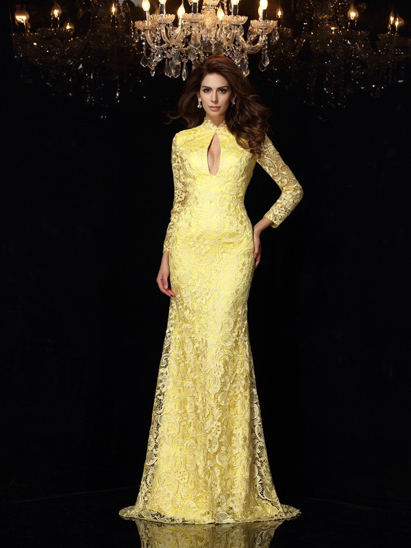 Brush Train Daffodil Long Sleeves High Neck Prom Dresses with Lace