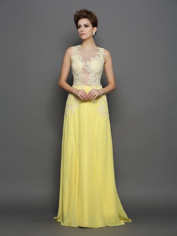 A-Line Scoop Brush Train Daffodil Prom Dresses
