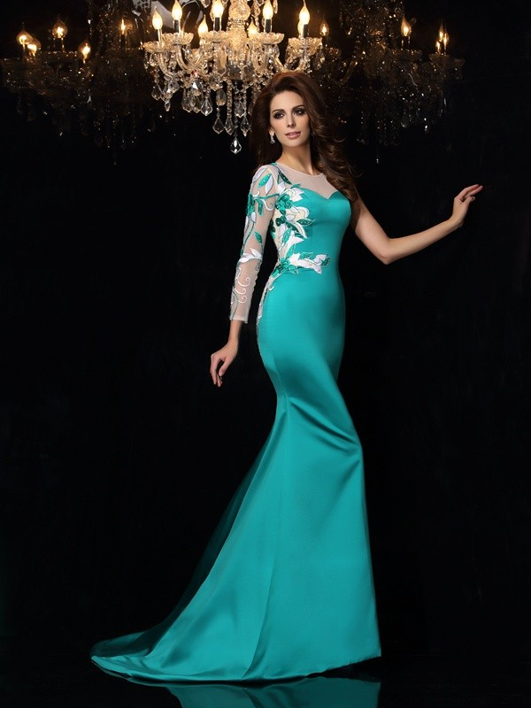 Green Mermaid Scoop Court Train Prom Dresses with Beading