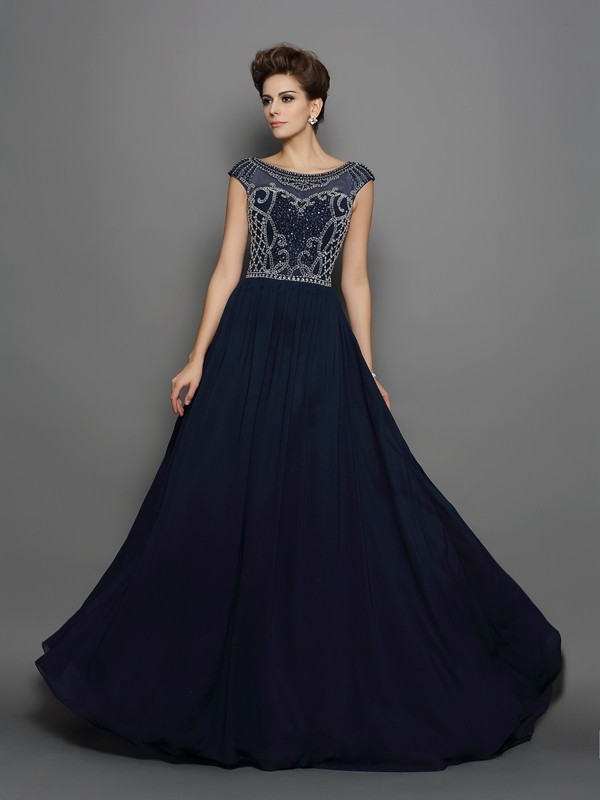 Brush Train Dark Navy Short Sleeves Scoop Prom Dresses with Beading