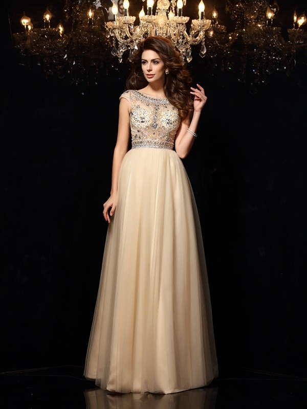 A-Line Net Scoop Floor-Length Prom Dresses with Beading