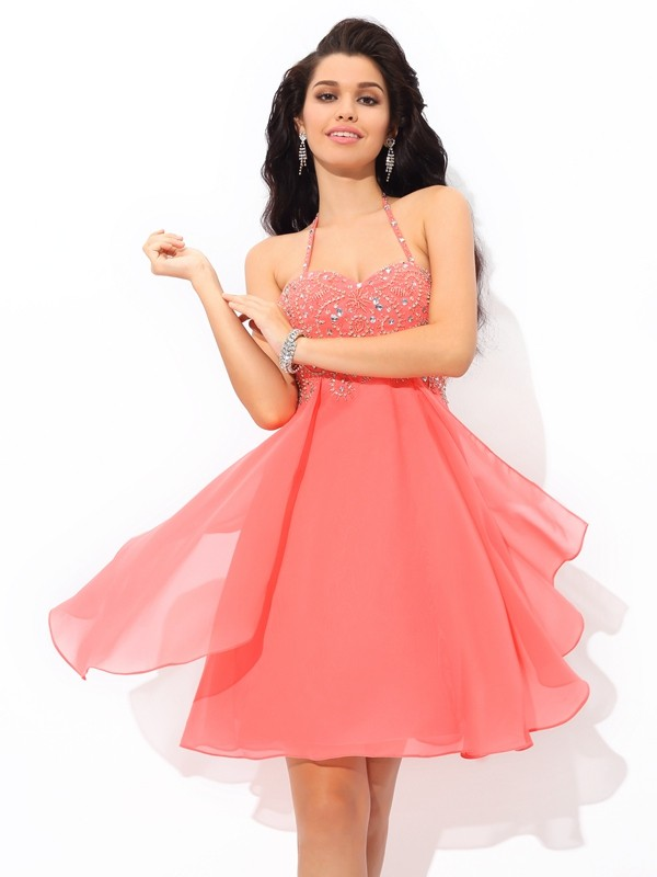 A-Line Chiffon Halter Short/Mini Watermelon Homecoming Dresses