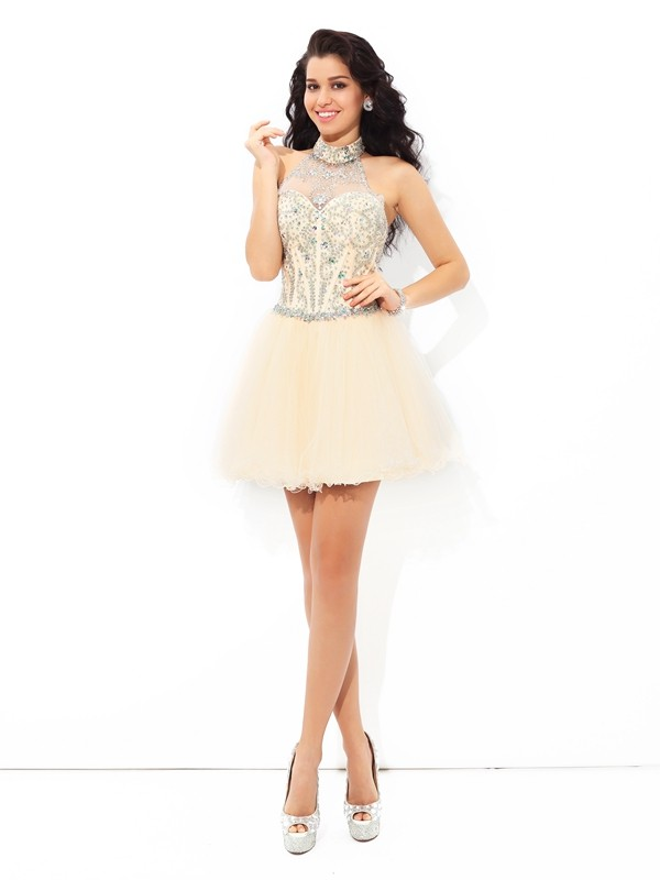 Satin A-Line Short/Mini Halter Champagne Homecoming Dresses