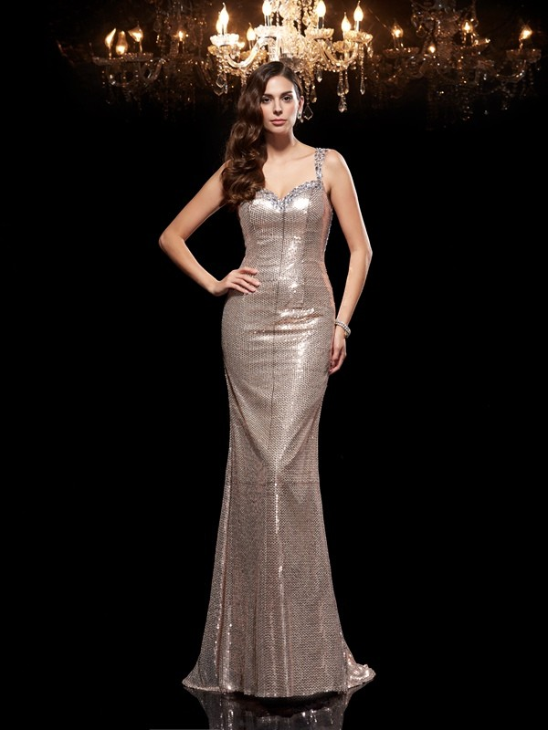 Silver Straps Sequins Brush Train Prom Dresses