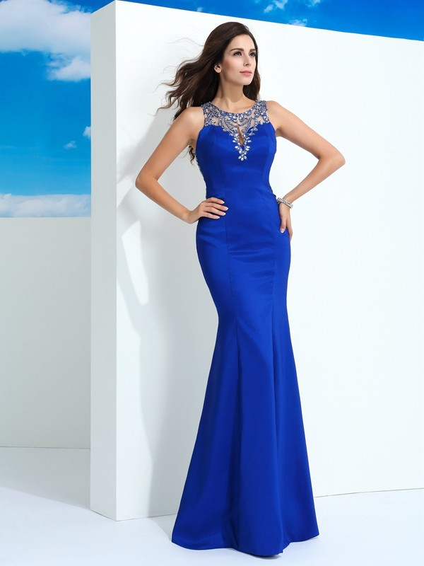 Sheath Chiffon Sheer Neck Floor-Length Royal Blue Prom Dresses