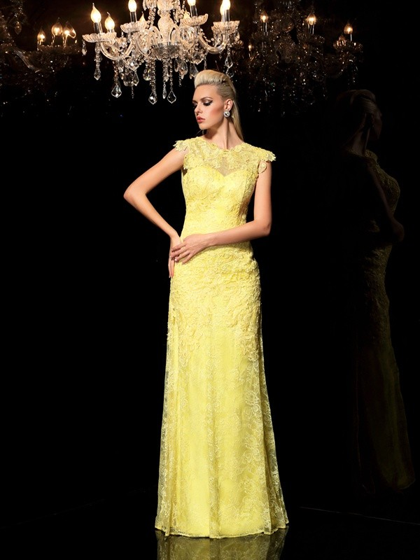 Chiffon Sheer Neck Floor-Length Yellow Prom Dresses