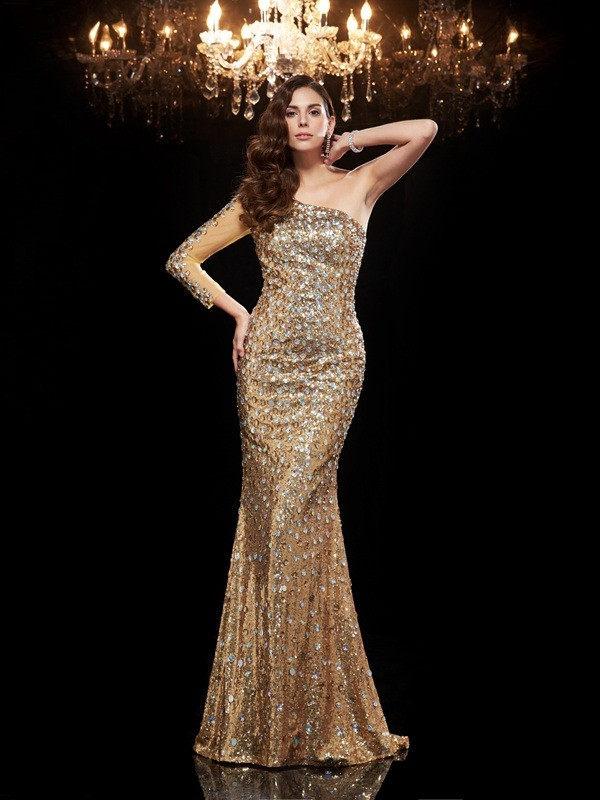Floor-Length Gold 3/4 Sleeves One-Shoulder Prom Dresses with Beading