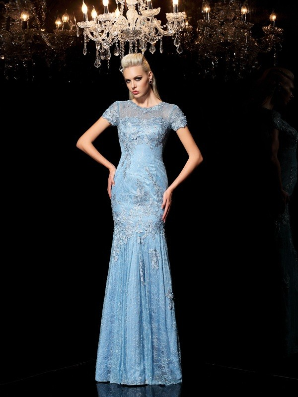 Sheath Short Sleeves Sheer Neck Floor-Length Blue Prom Dresses