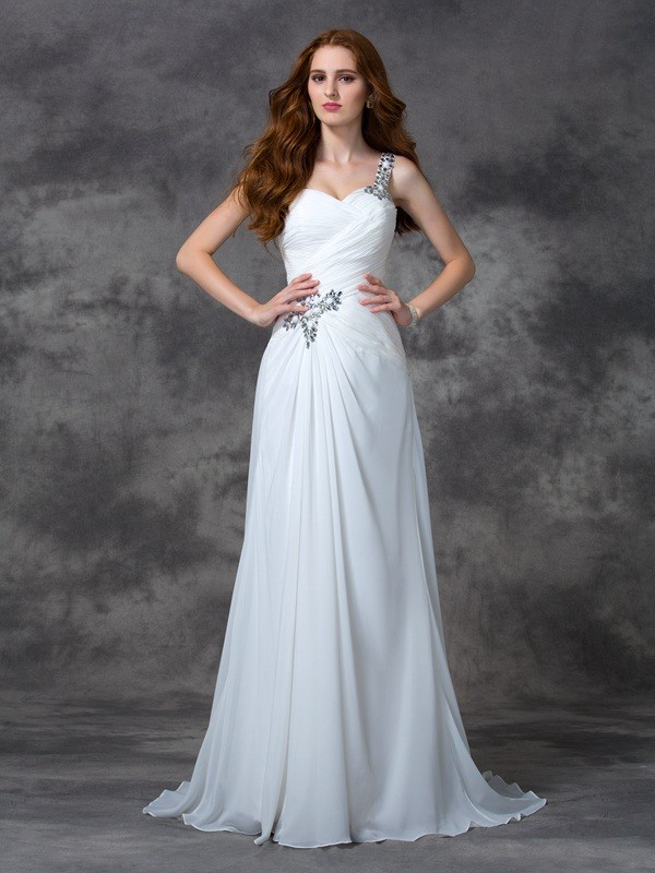 Brush Train White One-Shoulder Prom Dresses with Beading