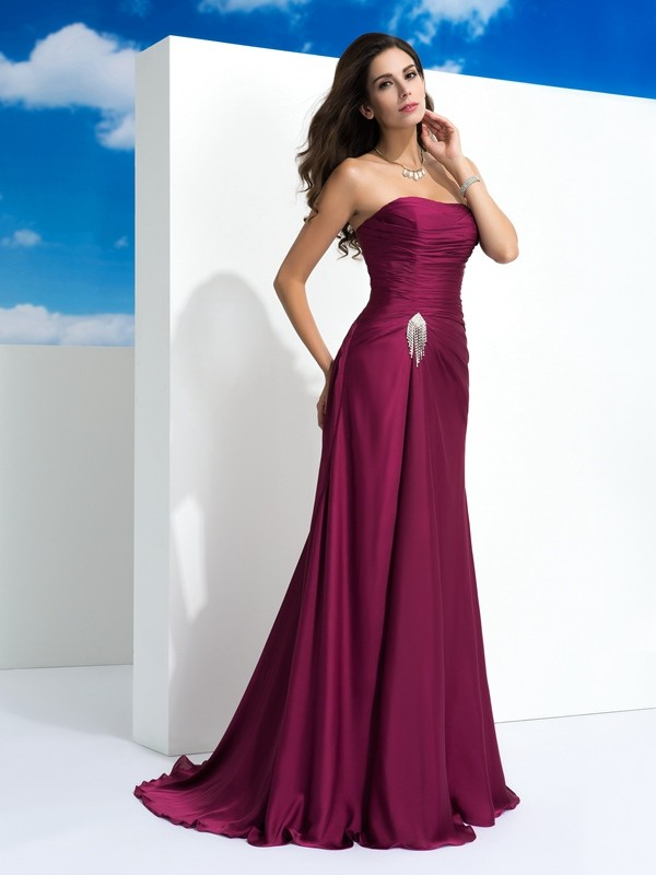 Satin Chiffon A-Line Brush Train Strapless Burgundy Prom Dresses
